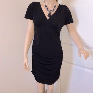 Alyn Paige M Black Stretch Ruched Side Dress